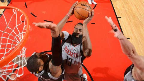 HOUSTON, TX - MAY 11: James Harden #13 of the Houston Rockets shoots the ball during the game against the San Antonio Spurs during Game Six of the Western Conference Semifinals of the 2017 NBA Playoffs on May 11, 2017 at the Toyota Center in Houston, Texas. NOTE TO USER: User expressly acknowledges and agrees that, by downloading and or using this photograph, User is consenting to the terms and conditions of the Getty Images License Agreement. Mandatory Copyright Notice: Copyright 2017 NBAE (Photo by Jesse D. Garrabrant/NBAE via Getty Images)