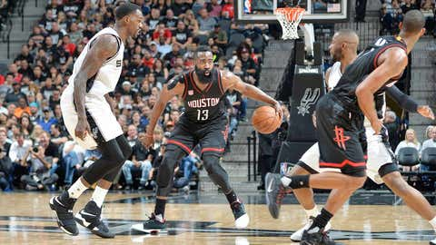 SAN ANTONIO, TX - MAY 1:  James Harden #13 of the Houston Rockets handles the ball against the San Antonio Spurs during Game One of the Western Conference Semifinals of the 2017 NBA Playoffs on May 1, 2017 at AT&T Center in San Antonio, Texas. NOTE TO USER: User expressly acknowledges and agrees that, by downloading and/or using this photograph, user is consenting to the terms and conditions of the Getty Images License Agreement. Mandatory Copyright Notice: Copyright 2017 NBAE (Photo by Mark Sobhani/NBAE via Getty Images)