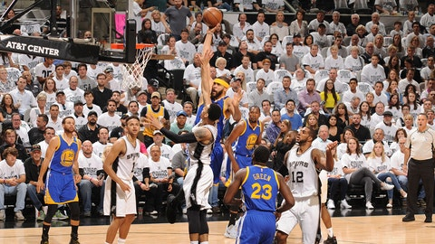 SAN ANTONIO, TX - MAY 20: JaVale McGee #1 of the Golden State Warriors shoots the ball against the San Antonio Spurs in Game Three of the Western Conference Finals of the 2017 NBA Playoffs on May 20, 2017 AT&T Center in San Antonio, Texas. NOTE TO USER: User expressly acknowledges and agrees that, by downloading and or using this photograph, user is consenting to the terms and conditions of the Getty Images License Agreement. Mandatory Copyright Notice: Copyright 2017 NBAE (Photos by Mark Sobhani/NBAE via Getty Images)