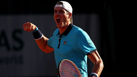 PARIS, FRANCE - MAY 30:  John Isner of The USA celebrates winning a point during the first round match against Jordan Thompson of Australia on day three of the 2017 French Open at Roland Garros on May 30, 2017 in Paris, France.  (Photo by Clive Brunskill/Getty Images)