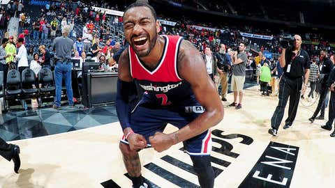 ATLANTA, GA - APRIL 28:  John Wall #2 of the Washington Wizards smiles after the game against the Atlanta Hawks during Game Six of the Eastern Conference Quarterfinals of the 2017 NBA Playoffs on April 28, 2017 at Philips Arena in Atlanta, Georgia.  NOTE TO USER: User expressly acknowledges and agrees that, by downloading and/or using this Photograph, user is consenting to the terms and conditions of the Getty Images License Agreement. Mandatory Copyright Notice: Copyright 2017 NBAE (Photo by Scott Cunningham/NBAE via Getty Images)