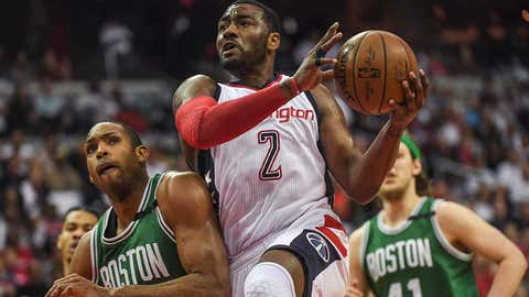 WASHINGTON, DC - MAY 7: Washington Wizards guard John Wall (2) drives the lane past Boston Celtics center Al Horford (42) during the second half of Game Four of the NBA Playoffs Second Round at the Verizon Center on Sunday, May 7, 2017.  The Washington Wizards defeated the Boston Celtics 121-102. (Photo by Toni L. Sandys/The Washington Post via Getty Images)
