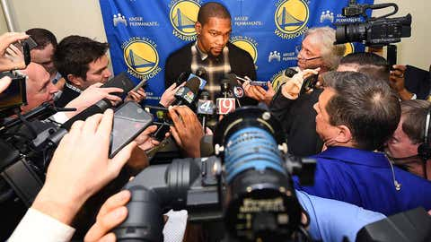 OKLAHOMA CITY, OK - FEBRUARY 11: Kevin Durant #35 of the Golden State Warriors talks with media before the game against the Oklahoma City Thunder on February 11, 2017 at Chesapeake Energy Arena in Oklahoma City, Oklahoma. NOTE TO USER: User expressly acknowledges and agrees that, by downloading and or using this photograph, User is consenting to the terms and conditions of the Getty Images License Agreement. Mandatory Copyright Notice: Copyright 2017 NBAE (Photo by Andrew D. Bernstein/NBAE via Getty Images)