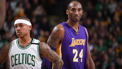 BOSTON, MA - DECEMBER 30:  Isaiah Thomas #4 of the Boston Celtics and Kobe Bryant #24 of the Los Angeles Lakers ;are seen during the game on December 30, 2015 at the TD Garden in Boston, Massachusetts.  NOTE TO USER: User expressly acknowledges and agrees that, by downloading and or using this photograph, User is consenting to the terms and conditions of the Getty Images License Agreement. Mandatory Copyright Notice: Copyright 2015 NBAE  (Photo by Brian Babineau/NBAE via Getty Images)