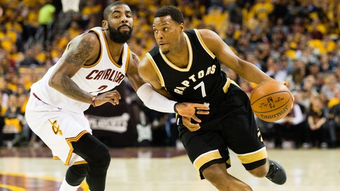 CLEVELAND, OH - MAY 3: Kyle Lowry #7 of the Toronto Raptors drives around Kyrie Irving #2 of the Cleveland Cavaliers during the first half of Game Two of the NBA Eastern Conference semifinals at Quicken Loans Arena on May 3, 2017 in Cleveland, Ohio. NOTE TO USER: User expressly acknowledges and agrees that, by downloading and or using this photograph, User is consenting to the terms and conditions of the Getty Images License Agreement. (Photo by Jason Miller/Getty Images)