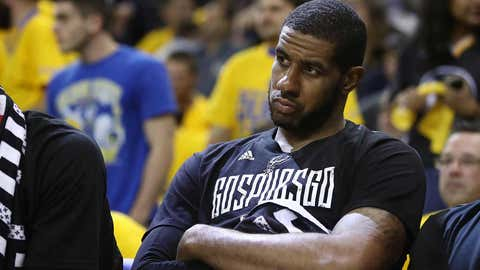 OAKLAND, CA - MAY 16:  LaMarcus Aldridge #12 of the San Antonio Spurs sits on the bench in the final minutes of their 136-100 loss to the Golden State Warriors in Game Two of the NBA Western Conference Finals at ORACLE Arena on May 16, 2017 in Oakland, California. NOTE TO USER: User expressly acknowledges and agrees that, by downloading and or using this photograph, User is consenting to the terms and conditions of the Getty Images License Agreement.  (Photo by Ezra Shaw/Getty Images)