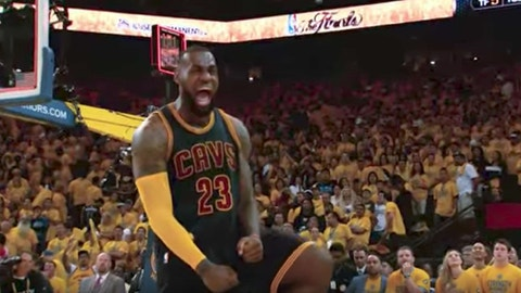 LeBron's reaction to winning Game 2 of the 2015 Finals