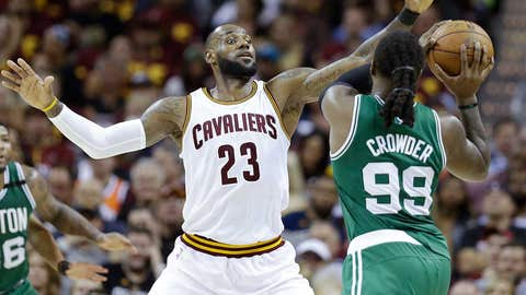 Cleveland Cavaliers' LeBron James (23) defends against Boston Celtics' Jae Crowder (99) during the second half of Game 3 of the NBA basketball Eastern Conference finals, Sunday, May 21, 2017, in Cleveland. (AP Photo/Tony Dejak)