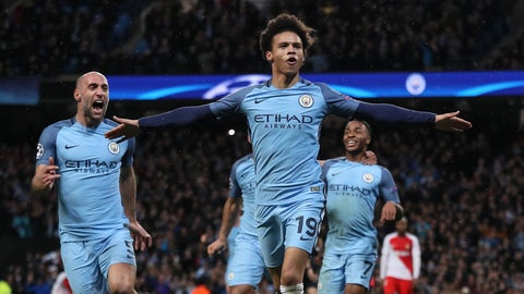 MANCHESTER, ENGLAND - FEBRUARY 21:  Leroy Sane of Manchester City celebrates scoring his team's fifth goal to make the score 5-3 during the UEFA Champions League Round of 16 first leg match between Manchester City FC and AS Monaco at Etihad Stadium on February 21, 2017 in Manchester, United Kingdom.  (Photo by Matthew Ashton - AMA/Getty Images)