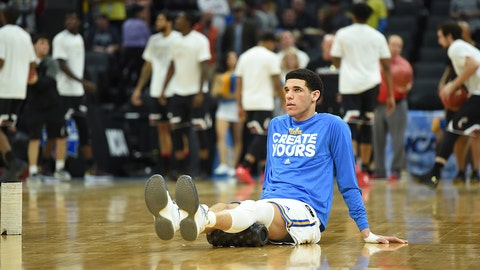 SACRAMENTO, CA - MARCH 19: UCLA Bruins (2) Lonzo Ball (G) stretches before the start of the UCLA Bruins game versus the Cincinnati Bearcats in their NCAA Division I Men's Basketball Championship second round game on March 19, 2017, at Golden 1 Center in Sacramento, CA. (Photo by Chris Williams/Icon Sportswire) (Icon Sportswire via AP Images)