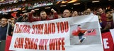 Zlatan Ibrahimovic gleefully poses with fan's 'shag my wife' sign