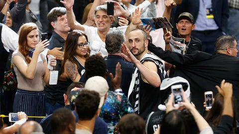 SAN ANTONIO, TX - MAY 22:  (EDITORS NOTE: Retransmission with alternate crop.) Manu Ginobili #20 of the San Antonio Spurs waves as he leaves the court after the Golden State Warriors defeated the San Antonio Spurs 129-115 in Game Four of the 2017 NBA Western Conference Finals at AT&T Center on May 22, 2017 in San Antonio, Texas. The Golden State Warriors defeat the San Antonio Spurs 4-0 in the Western Conference Finals to advance to the 2017 NBA Finals. NOTE TO USER: User expressly acknowledges and agrees that, by downloading and or using this photograph, User is consenting to the terms and conditions of the Getty Images License Agreement.  (Photo by Ronald Cortes/Getty Images)