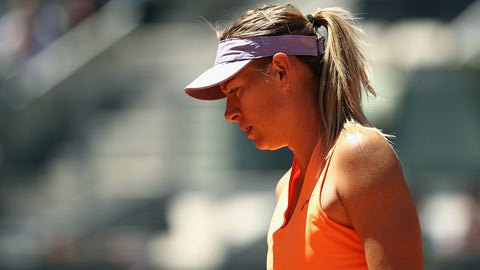 MADRID, SPAIN - MAY 07:  Maria Sharapova of Russia looks on in her match against Mirjana Lucic-Baroni of Croatia during day two of the Mutua Madrid Open tennis at La Caja Magica on May 7, 2017 in Madrid, Spain.  (Photo by Julian Finney/Getty Images)