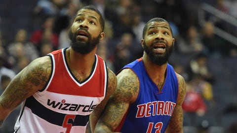 WASHINGTON, DC - FEBRUARY 19:  Washington Wizards Markieff Morris (5) fights for position against his twin brother Detroit Pistons forward Marcus Morris (13) on February 19, 2016 in Washington, DC. (Jonathan Newton / The Washington Post via Getty Images)