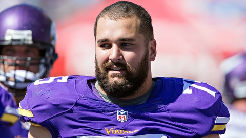 NASHVILLE, TN - SEPTEMBER 11:  Matt Kalil #75 of the Minnesota Vikings on the sidelines during a game against the Tennessee Titans at Nissan Stadium on September 11, 2016 in Nashville, Tennessee.  The Vikings defeated the Titans 25-16.  (Photo by Wesley Hitt/Getty Images)