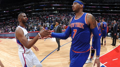 Chris Paul to the New York Knicks with Carmelo Anthony, Kristaps Porzingis