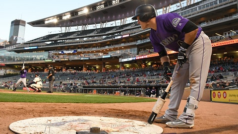 MINNEAPOLIS, MN - MAY 18: Colorado Rockies Infield Pat Valaika (4) in the on deck circle during game 2 of a MLB doubleheader between the Minnesota Twins and Colorado Rockies on May 18, 2017 at Target Field in Minneapolis, MN. The Twins defeated the Rockies 2-0.(Photo by Nick Wosika/Icon Sportswire via Getty Images)