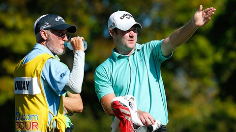 COLUMBUS, OH - SEPTEMBER 25: Grayson Murray and his caddie Mike Hicks talk on the 18th tee during the final round of the Web.com Tour Nationwide Children's Hospital Championship at The Ohio State University Golf Club on September 25, 2016 in Columbus, Ohio. (Photo by Gregory Shamus/Getty Images)