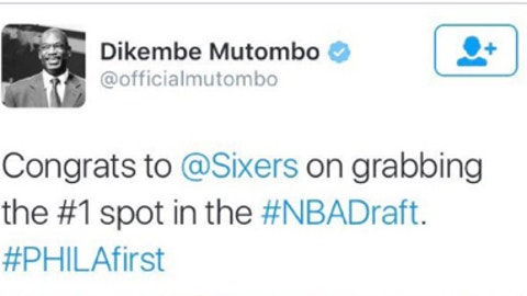 2016: Dikembe Mutombo congratulates the Sixers four hours before their lottery win