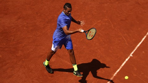 PARIS, FRANCE - MAY 30:  Nick Kyrgios of Australia plays a forehand during the mens singles first round match against Philipp Kohlschreiber of Germany on day three of the 2017 French Open at Roland Garros on May 30, 2017 in Paris, France.  (Photo by Julian Finney/Getty Images)
