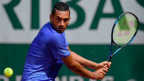 Australia's Nick Kyrgios returns the ball to Germany's Philipp Kohlschreiber during their tennis match at the Roland Garros 2017 French Open on May 30, 2017 in Paris.  / AFP PHOTO / Lionel BONAVENTURE        (Photo credit should read LIONEL BONAVENTURE/AFP/Getty Images)