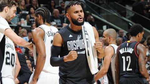 SAN ANTONIO, TX - MAY 1:  Patty Mills #8 of the San Antonio Spurs reacts to a play during Game One of the Western Conference Semifinals of the 2017 NBA Playoffs on May 1, 2017 at AT&T Center in San Antonio, Texas. NOTE TO USER: User expressly acknowledges and agrees that, by downloading and/or using this photograph, user is consenting to the terms and conditions of the Getty Images License Agreement. Mandatory Copyright Notice: Copyright 2017 NBAE (Photo by Mark Sobhani/NBAE via Getty Images)