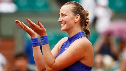 PARIS, FRANCE - MAY 28:  Petra Kvitova of the Czech Republic celebrates following her victory during the ladies singles first round match against Julia Boserup of the United States on day one of the 2017 French Open at Roland Garros on May 28, 2017 in Paris, France.  (Photo by Adam Pretty/Getty Images)