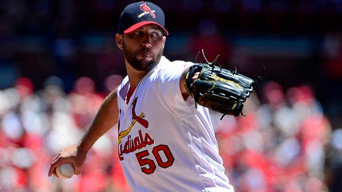 May 21, 2017; St. Louis, MO, USA; St. Louis Cardinals starting pitcher Adam Wainwright (50) pitches during the first inning against the San Francisco Giants at Busch Stadium. Mandatory Credit: Jeff Curry-USA TODAY Sports