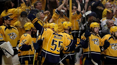 The Nashville Predators bench celebrates their go-ahead goal during the third period in Game 3 of the Western Conference final against the Anaheim Ducks in the NHL hockey Stanley Cup playoffs Tuesday, May 16, 2017, in Nashville, Tenn. The Predators won 2-1. (AP Photo/Mark Humphrey)