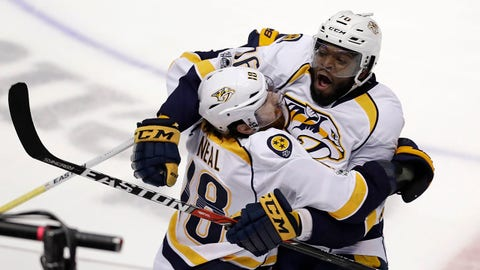 Nashville Predators James Neal, left, celebrates after scoring against the Anaheim Ducks off an assist by defenseman P.K. Subban, right, in overtime of Game 1 in the NHL hockey Stanley Cup Western Conference finals, Friday, May 12, 2017, in Anaheim, Calif. The Predators won 3-2. (AP Photo/Chris Carlson)