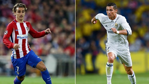 FILE PHOTO (EDITORS NOTE: COMPOSITE OF TWO IMAGES - Image numbers (L) 653727596 and 610290284) In this composite image a comparision has been made between Antoine Griezmann of Atletico Madrid (L) and Cristiano Ronaldo of Real Madrid CF.  Real Madrid CF and Club Atletico de Madrid meet in one of the UEFA Champions League Semi Finals.  ***LEFT IMAGE*** MADRID, SPAIN - MARCH 15: Antoine Griezmann of Atletico runs with the ball during the UEFA Champions League Round of 16 second leg match between Club Atletico de Madrid and Bayer Leverkusen at Vicente Calderon Stadium on March 15, 2017 in Madrid, Spain. (Photo by Lars Baron/Bongarts/Getty Images) ***RIGHT IMAGE*** LAS PALMAS, SPAIN - SEPTEMBER 24: Cristiano Ronaldo of Real Madrid CF runs with the ball during the La Liga match between UD Las Palmas and Real Madrid CF on September 24, 2016 in Las Palmas, Spain. (Photo by David Ramos/Getty Images)