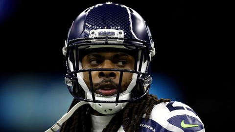 NEW ORLEANS, LA - OCTOBER 30:  Richard Sherman #25 of the Seattle Seahawks reacts during a game against the New Orleans Saints at the Mercedes-Benz Superdome on October 30, 2016 in New Orleans, Louisiana.  (Photo by Jonathan Bachman/Getty Images)