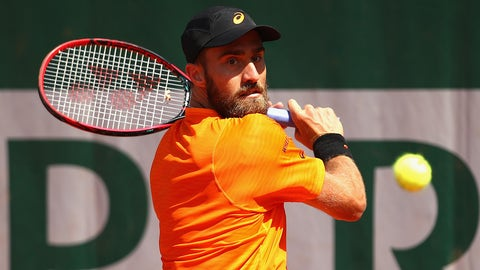 PARIS, FRANCE - MAY 31:  Steve Johnson of The United States plays a backhand during the mens singles second round match against Borna Coric of Croatia on day four of the 2017 French Open at Roland Garros on May 31, 2017 in Paris, France.  (Photo by Clive Brunskill/Getty Images)