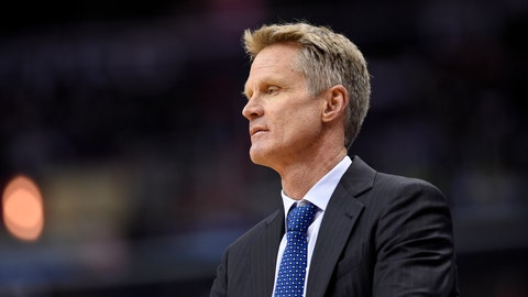 Golden State Warriors head coach Steve Kerr looks on during the second half of an NBA basketball game against the Washington Wizards, Tuesday, Feb. 28, 2017, in Washington. The Wizards won 112-108. (AP Photo/Nick Wass)