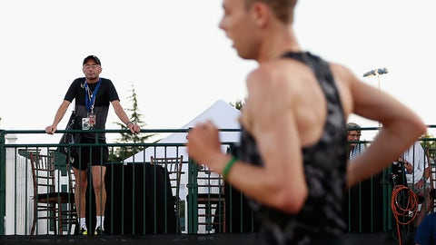EUGENE, OR - JUNE 25:  Nike Oregon Project coach Alberto Salazar (L) watches as Galen Rupp competes in the Men's 10,000 meter run during day one of the 2015 USA Outdoor Track & Field Championships at Hayward Field on June 25, 2015 in Eugene, Oregon.  (Photo by Christian Petersen/Getty Images)