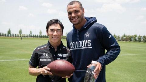 Takuma Sato (L) meets Dak Prescott (R). (Photo credit: Texas Motor Speedway)