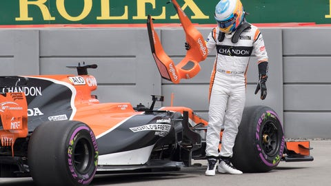 Fernando Alonso (pictured) and Stoffel Vandoorne will both start toward the back of the grid for the Azerbaijan GP. (Photo: Jacques Boissinot/The Canadian Press via AP)