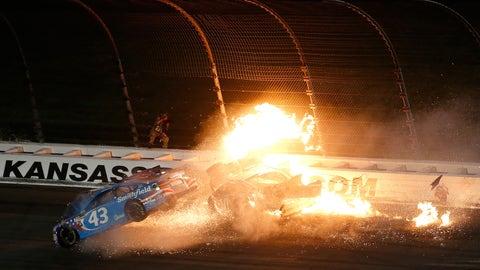 A - Aric Almirola's hard crash