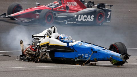 Scott Dixon was OK after a frightening crash at the 101st running of the Indianapolis 500 in May. (AP Photo/Bud Cunningham)