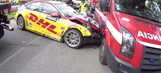 Racing car crashes into fire truck during practice in Portugal