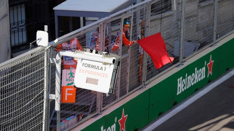 The red flag flies after three consecutive safety car periods in Azerbaijan. (Photo: Zak Mauger/LAT Images)