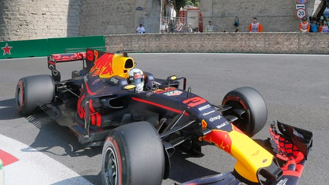 Daniel Ricciardo started 10th and won Sunday's Azerbaijan GP. (AP Photo/Efrem Lukatsky)