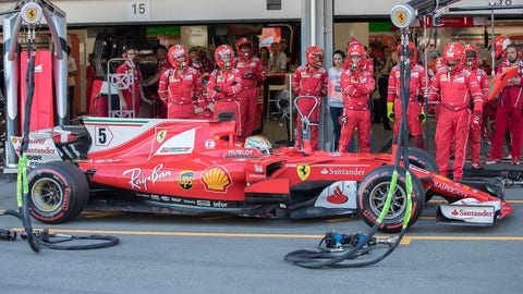 Vettel had to serve a 10-second stop-and-go penalty during the Azerbaijan GP. (Valdrin Xhemaj/Pool via AP)