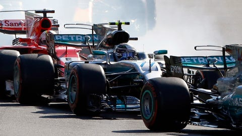 Valtteri Bottas finished second despite being involved in a Lap 1 collision at the Azerbaijan GP. (AP Photo/Darko Bandic)