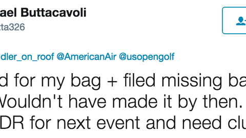 Buttacavoli explained that he ran out of time dealing with his lost clubs and wouldn't have made it anyway
