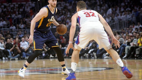 April 18, 2017; Los Angeles, CA, USA; Utah Jazz forward Gordon Hayward (20) moves the ball against Los Angeles Clippers forward Blake Griffin (32) during the first half in game two of the first round of the 2017 NBA Playoffs at Staples Center. Mandatory Credit: Gary A. Vasquez-USA TODAY Sports