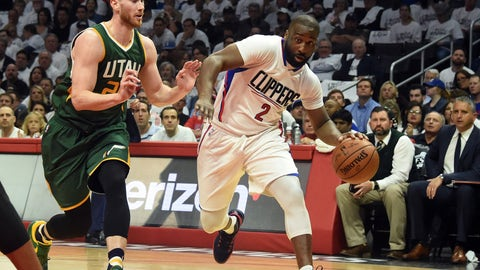 April 25, 2017; Los Angeles, CA, USA; Los Angeles Clippers guard Raymond Felton (2) moves the ball against Utah Jazz forward Gordon Hayward (20) during the first half in game five of the first round of the 2017 NBA Playoffs at Staples Center. Mandatory Credit: Richard Mackson-USA TODAY Sports