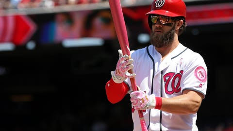 May 14, 2017; Washington, DC, USA; Washington Nationals right fielder Bryce Harper (34) prepares to bat against the Philadelphia Phillies in the first inning at Nationals Park. Mandatory Credit: Geoff Burke-USA TODAY Sports