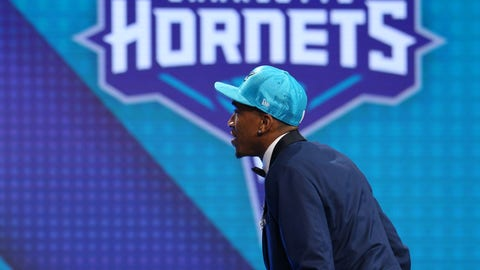 Jun 22, 2017; Brooklyn, NY, USA; Malik Monk (Kentucky) is introduced as the number eleven overall pick to the Charlotte Hornets in the first round of the 2017 NBA Draft at Barclays Center. Mandatory Credit: Brad Penner-USA TODAY Sports