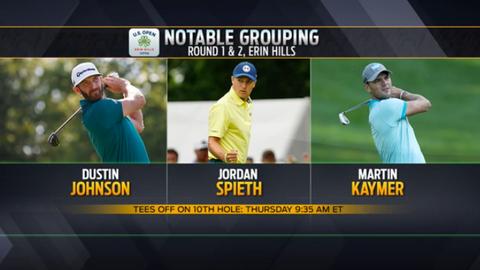 9:35 a.m. ET: Dustin Johnson, Jordan Spieth, Martin Kaymer